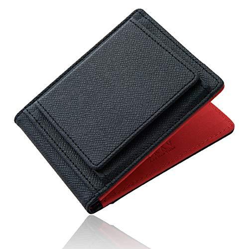 [GRAV] 小銭入れ メンズ カードケース コインケース 薄型 財布 二つ折り マネークリップ (ブラック/レッド)