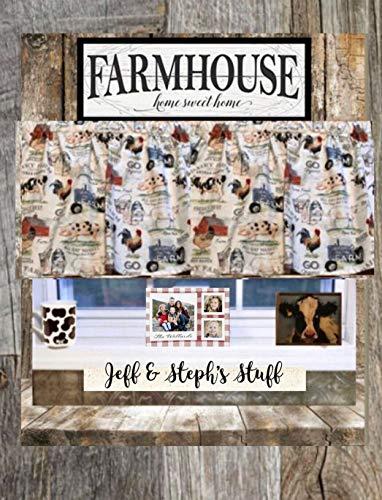 Farmhouse Valance, Country Decor, Dairy Farm, Valance, Barn Pig, Home Decor, Country Style, Cotton Window Curtain Treatment 43W x 15L