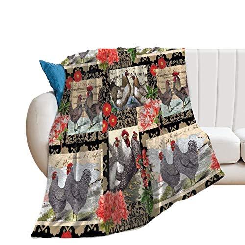 Manta de felpa, manta de parche de gallo, manta novedad de 70 x 80 pulgadas para decoración del hogar, manta de franela suave y cómoda para adultos