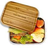 VESTRA HOME | Lunchbox aus Edelstahl mit Bambusdeckel | 1.200 ml | Ideal zur Schule, für die Arbeit und zum Reisen | 100% Plastikfrei | mit Variabler Trennung
