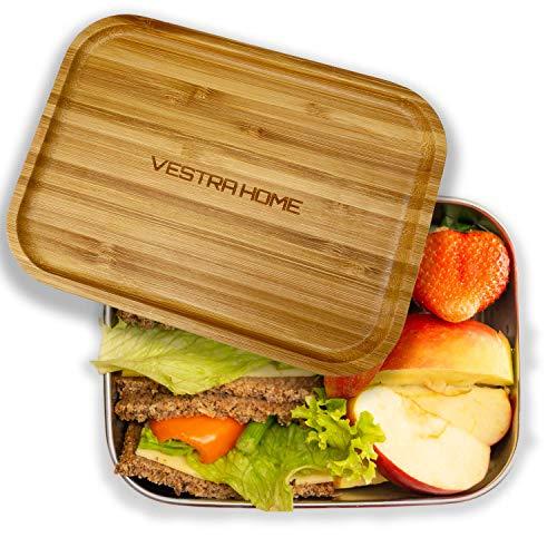 VESTRA HOME   Lunchbox aus Edelstahl mit Bambusdeckel   1.200 ml   Ideal zur Schule, für die Arbeit und zum Reisen   100% Plastikfrei   ohne Trennung