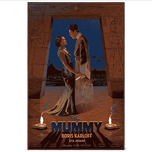 yhnjikl Carteles e Impresiones La Momia Monstruos universales Boris Karloff Art Poster Pintura de la Lona Decoración para el hogar 40X60Cm Sin Marco