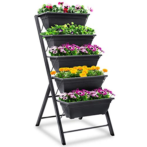 FOYUEE Vertical Herb Garden Planter Box Outdoor Elevated Raised Bed for Vegetables Flower Indoor with Drainage 5 Container