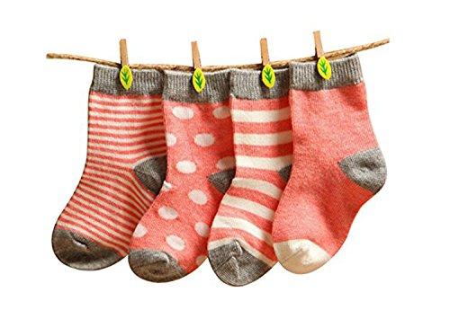Calcetines de bebé Gryiyi, unisex, para bebé, 4 pares Rojo silenciado 0-6 Meses