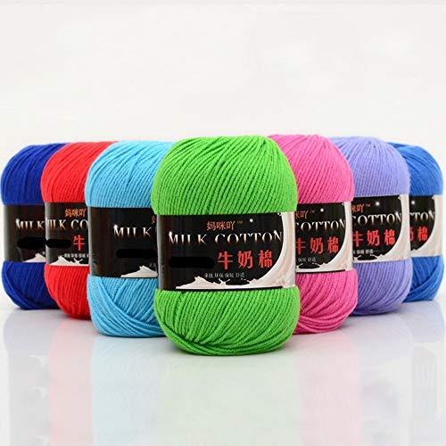 Generies 50g/bola de hilo de ganchillo de lana de algodón suave para bebé de algodón de punto a mano de bricolaje manta muñecas suéter al por mayor QW087 (enviado al azar, 500 g)