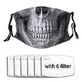 Sciarpa per la bocca in Ma-Schera con denti di scheletro e teschio con 6 filtri e clip per il naso Visiera riutilizzabile