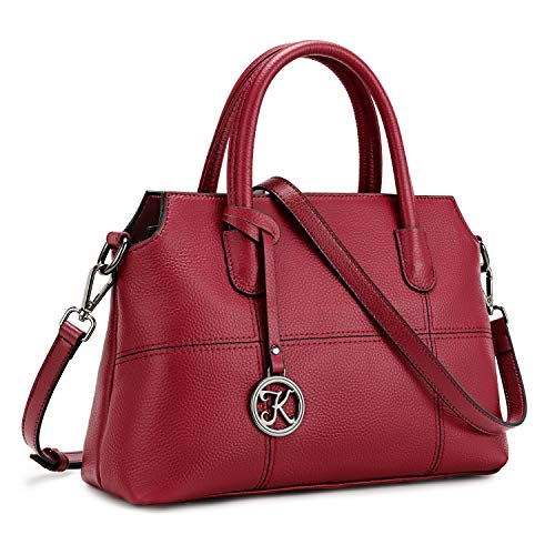 Kattee Genuine Leather Handbags for Women, Soft Hobo Satchel Shoulder Crossbody Bags Ladies Purses Red