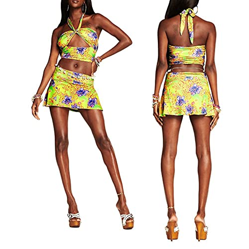 Conjunto de 2 piezas de top sin mangas con falda hueco tubo corto falda top set Tie Dye Print Tops Halter cuello Mini vestido con cordón fruncido Bodycon