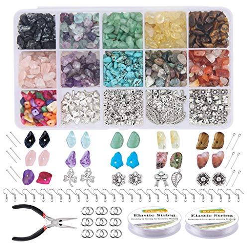 MIKI-Z - Kit de perlas de piedra irregulares, perlas de cristal, fabricación de joyas