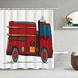 AIKIBELL Cortina de Ducha Impermeable,Vehículo de Servicio de Dibujos Animados de Camiones de Bomberos con una Escalera en el Lado Rescate de Emergencia,Cortinas de baño con 12 Ganchos