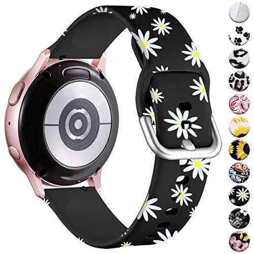 Vobafe Compatible con Samsung Galaxy Watch Active 40mm Correa/Active 2 Correa, 20mm Correas de Repuesto de Silicona para Galaxy Watch 3 41mm/Gear S2 Classic/Gear Sport Smart Watch, Margarita