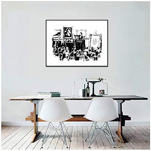 Banksy Graffiti Veilingen Lrony Posters En Prints Woonkamer Muurdecoratie Zwart-wit Canvas Schilderij Canvas -40x60cm Geen lijst