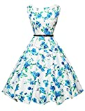 Sleeveless Vintage Pin-up Dress for Women Floral XS F-23