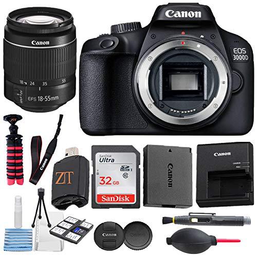 Canon EOS 3000D / Rebel T100 / 4000D Digital DSLR Camera Body with 18MP CMOS Sensor + 18-55mm Zoom Lens + Sandisk 32GB Memory Cards + Spider Tripod + Accessory Bundle (32GB Card)
