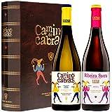 Pack Regalo Vino Tinto & Blanco   Mencía Ribeira Sacra + Ribeiro   Vinos buenos para Regalar   Estuche Vino Gallego   Producto Gourmet   2 Botellas x 750 ml CAMINO DE CABRAS   Regalo original