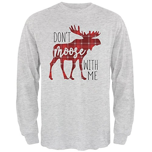 Old Glory Autumn Don't Moose with Me Mens Long Sleeve T Shirt Light Heather Grey SM
