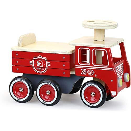 Vilac- Porteur Camion de Pompiers Avions, 1126R, Rouge
