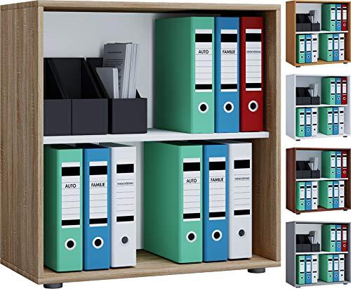 VCM Aktenregal Bücherregal Regal Standregal Büroregal Ordnerregal Schrank Lona 2-Fach Sonoma-Eiche