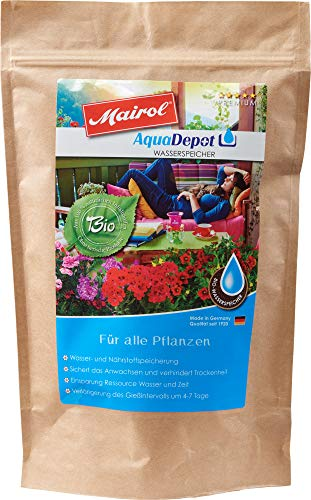 Mairol AquaDepot 100% Bio Wasserspeicher Granulat, für alle Pflanzen, 850 g MAXIPACK mit Messlöffel