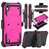LG Tribute HD Case,LG X Style Case,LG Volt 3 Case,Free Screen Protector Tempered Glass Film,KooJoee[Belt Clip Serise][Kickstand] Heavy Duty Shockproof Dual-Layer Armor Drop Protection Case(Hot-Pink)