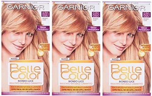3x Garnier belle color 8.03biondo luccicante–Tintura permanente capelli colorante