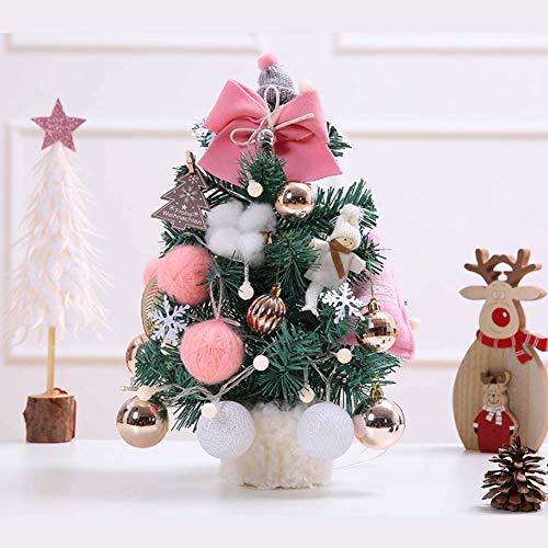 SCJS Piccolo Albero di Natale con luci Mini Desktop Decorazione Albero di Natale Luci a LED Scrivania Decorazione da Tavolo con Ornamenti e Palline di Natale, A.