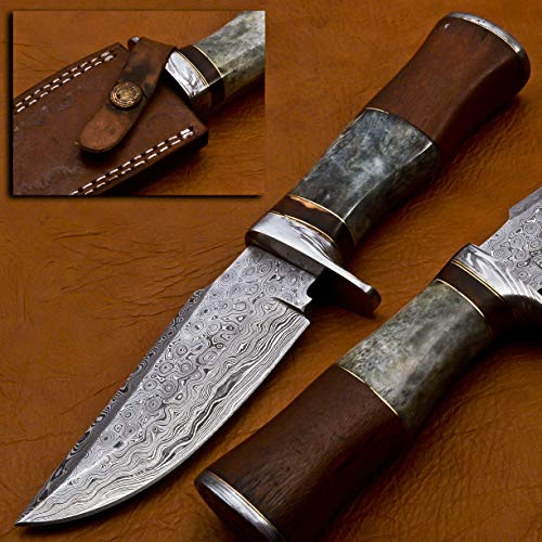 Damascus Steel SK-2009 Handmade 10 Inches Damascus Steel Skinner Knife - Beautiful Rose Wood & Camel Bone Handle