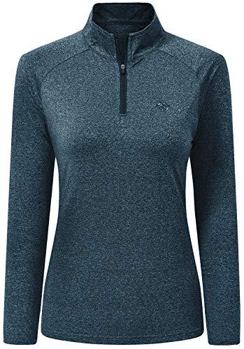 AjezMax Women Zip Lightweight Running Top Long Sleeve Yoga Workout Fitness T-Shirts Warm Base Layer Sportswear Clothing Sea-Blue Size M
