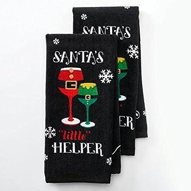 Santa's Little Helper  Wine Humor Holiday Kitchen Towel Set