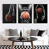Surfilter Baloncesto Player Baloncesto Dream Art Pósters e impresiones Pinturas de lienzo Imágenes de arte de la pared para la sala de estar Decoración 50x70cm 20x28 pulgada 3 unids sin marco