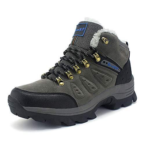 CXQWAN Hommes Plus Velours Chaussures De Marche en Plein Air, Bottes d'escalade Anti-Slip Escarpins À Lacets pour Randonner Voyager Randonnée Randonnée Camping,Gris,44