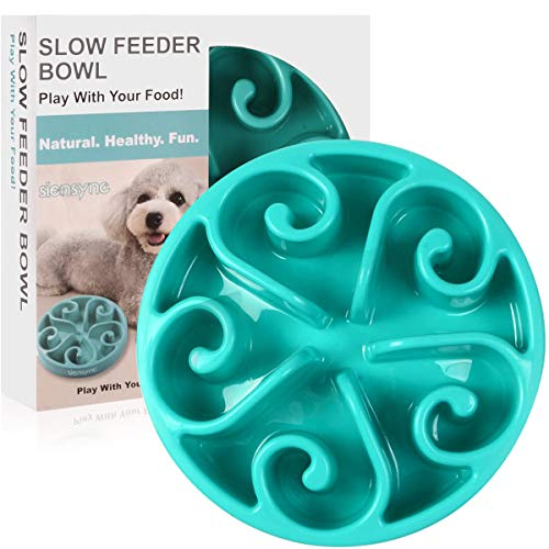 Siensync Slow Feeder Dog Bowl, Non Slip Puzzle Bowl Fun Feeder Interactive Bloat Stop Dog Bowl, Eco-Friendly Non Toxic Bamboo Fiber Slo Slow Feed Dog Bowl for Large Medium Small Dogs Cats