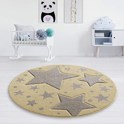 Taracarpet Kinderzimmer und Jugendzimmer Teppich Dreamland Kinderzimmerteppich Sterne gelb grau 120 cm rund