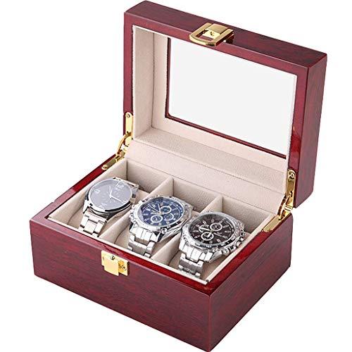 WWKDM Caja de Reloj Cajonera de Valet para Hombre Bandeja de Valet para Hombre Funda de Vidrio Organizador de Caja de Reloj de Madera Maciza Good Stuff