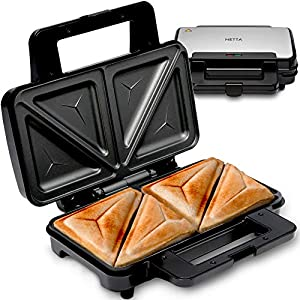 NETTA Deep Fill Toastie Maker | 2 Slice Sandwich Toaster | Easy to Clean | Extra Deep Non-Stick Plates | Non-Slip Rubber Feet | 900W | Stainless Steel/Black |