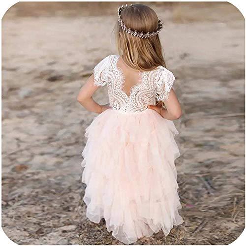 Abito estivo da principessa, per bambina, con motivo floreale, in pizzo, vestito a strati rosa 4 anni