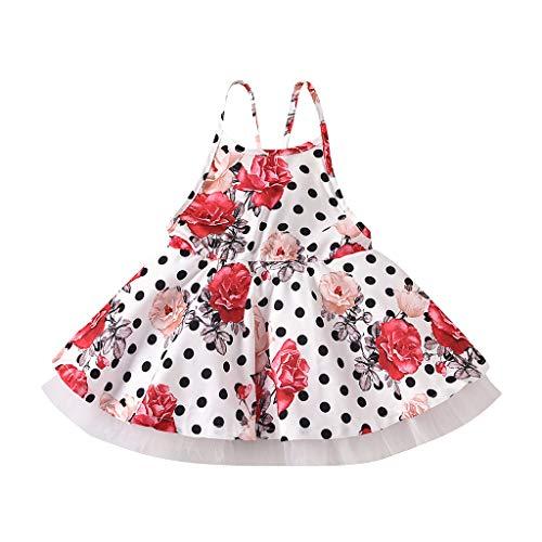 sunnymi Sommer Bekleidungssets für Baby Mädchen,1-6 Jahre Kleinkind Kinder Baby Mädchen Hosenträger Blumen Tupfen Prinzessin Kleid Kleidung