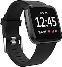 بندهای ورزشی سازگار با Fitbit Versa 2 Band/Fitbit Versa/Versa Lite ، مچ بندهای کلاسیک نرم جایگزین سیلیکون برای Versa 2 Smart Watch Women Men Men Black Large