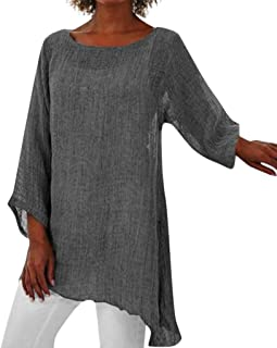 OULSEN Women's Long Blouse Letter Printing Asymmetry Tunic Tops Summer Long Sleeve Round Neck Imitation Linen Plain Thin t-shirt Women Plus Size