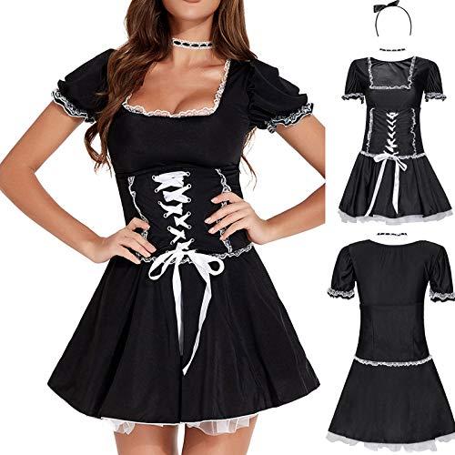 YJUU Disfraz de criada para mujer (vestido + banda para el pelo + correa para el cuello)