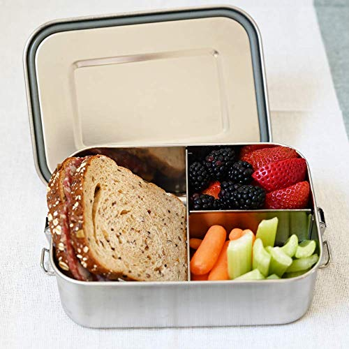 Leak-proof Stainless Steel Bento lunch box Lunch Container for Kids or Adults, Eco-Friendly, BPA Free, Chemical Free, Dishwasher-Safe, Leak Proof With Upgrade Lock, Large size 40 oz