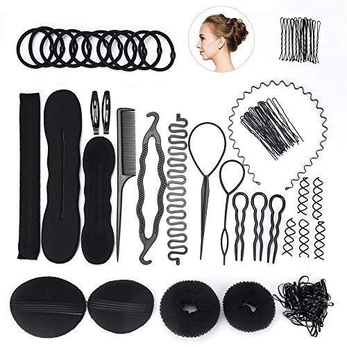 FEPITO Haar Styling Design Zubehör Set Haar Modellierung Tool Kit Spirale Haarknoten Maker Braid Werkzeug für Mädchen Frauen Mode Haar Design DIY