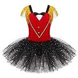 Freebily Disfraz Niña Halloween de Circo Maestro de Ceremonias Niñas Infántil Tutú Vestido Lentejuelas Bowtie Patrón Dulce Corazón Maillot Ballet Dancewear Rojo 3 Años