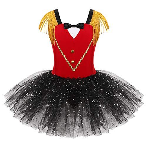 MSemis Disfraz Cosplay Halloween Domadora para Nias Vestido de Circo Rojo Falda Tut Hombros de Flescos Disfraces Traje Fiesta Gran Showman Ringmaster Carnaval Rojo 10 aos