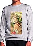 Hand with Flowers Romantic Painting Grey Unisex Sweatshirt - Small