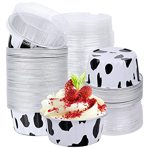 Dessert Cups with Lids, 50 PCS 5oz Milk Color Aluminum Foil Baking Cups Holders, Cupcake Bake Utility Ramekin Clear Pudding Cups for Wedding,Christmas,Kitchen,Birthday Party,Various Holiday Parties