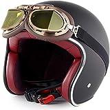 ZHXH Casco da motociclista per adulto, Harley Retrò per uomo e donna Evergreen Street Car Bicycle Open Face Helmet per inviare occhiali in linea con Dot/ece Riconoscimento/una varietà di optional,