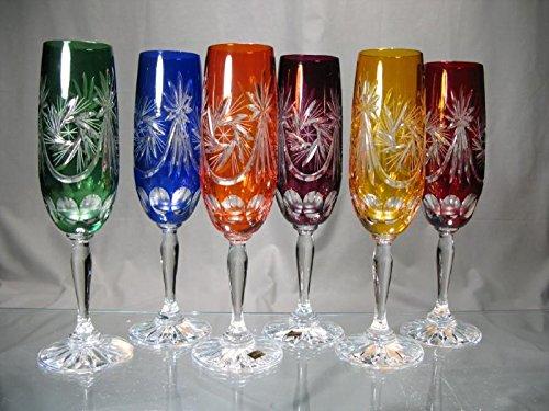Cristal de Bohemia Tallado–Copas de Champaña Color Cristal de Bohemia estrella