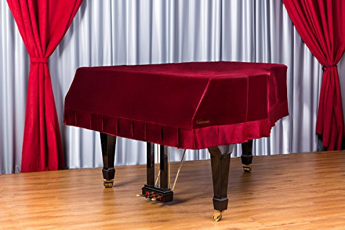 Clairevoire Grandeur: Funda clásica de terciopelo de primera para Pianos de Cola para Yamaha C3 / C3X / DC3 / G3 / CN186PE [186cm | 6 Pies 1 pulgada] [Vino clásico]