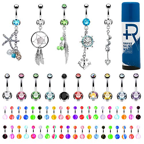 BodyJ4You 65 Belly Button Rings Dangle Barbells Aftercare Saline Spray 14G Acrylic Stainless Steel CZ Navel